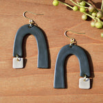 Charcoal Gray Arch and Taupe Polymer Clay Statement Earrings by JAX Atelier