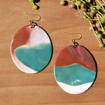Red, White and Turquoise Polymer Clay Statement Earrings by JAX Atelier
