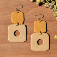 Mustard and Tan Polymer Clay Statement Earrings by JAX Atelier