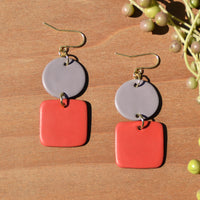 Gray and Orange Polymer Clay Statement Earrings by JAX Atelier