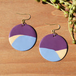 Plum, Cream and Periwinkle Polymer Clay Statement Earrings by JAX Atelier