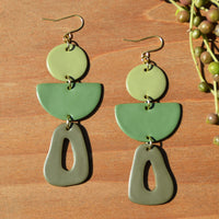 Sage, Jade and Moss Polymer Clay Statement Earrings by JAX Atelier