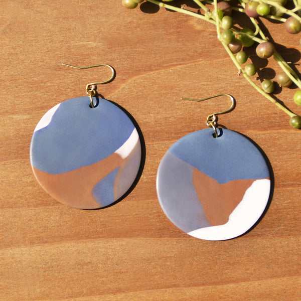 Dark Periwinkle, Caramel and White Polymer Clay Statement Earrings by JAX Atelier