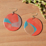Red Abstract Circle Polymer Clay Statement Earrings by JAX Atelier
