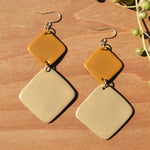 Mustard and Light Tan Diamond Polymer Clay Statement Earrings by JAX Atelier