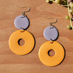 Lilac and Turmeric Polymer Clay Statement Earrings by JAX Atelier