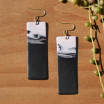 Black-and-White Rectangular Polymer Clay Statement Earrings by JAX Atelier