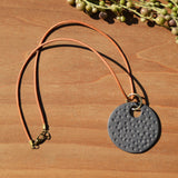 Charcoal Gray Textured Polymer Clay Statement Necklace by JAX Atelier