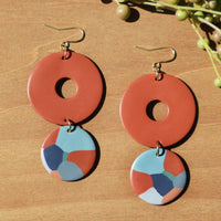 Terra Cotta and Abstract Drop Polymer Clay Statement Earrings by JAX Atelier