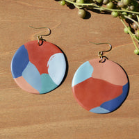 Abstract Circle Polymer Clay Statement Earrings by JAX Atelier