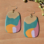 Teal, Turmeric, Mauve and Tan Polymer Clay Statement Earrings by JAX Atelier
