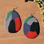 Abstract Oval Polymer Clay Statement Earrings by JAX Atelier