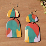 Multicolored Bell-Shaped Polymer Clay Statement Earrings by JAX Atelier