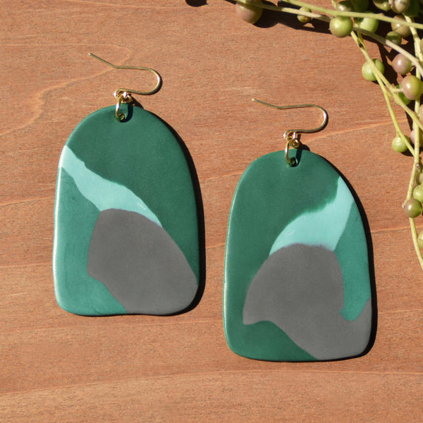 Abstract Green and Gray Polymer Clay Earrings