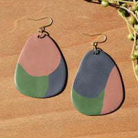 Mauve, Slate Blue and Olive Polymer Clay Statement Earrings by JAX Atelier