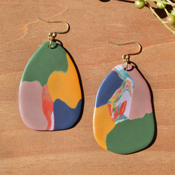 Olive, Mustard, Navy, Mauve Polymer Clay Statement Earrings by JAX Atelier