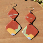 Abstract Burnt Orange Diamond Polymer Clay Statement Earrings by JAX Atelier