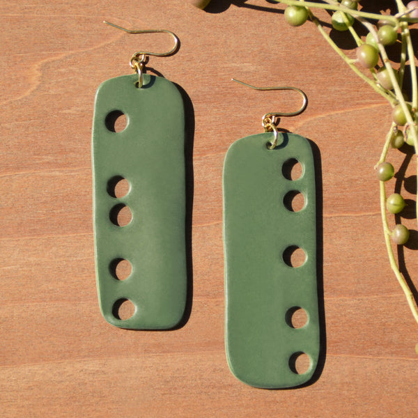 Dark Olive Rectangle Cutout Polymer Clay Statement Earrings by JAX Atelier