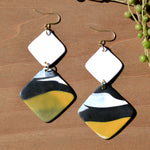 White, Black and Yellow Diamond Polymer Clay Statement Earrings by JAX Atelier