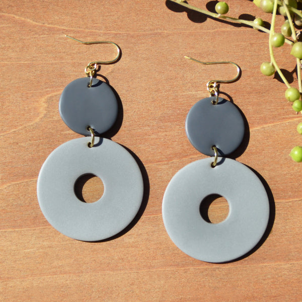 Two-toned Gray Polymer Clay Earrings