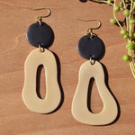 Black and Tan Polymer Clay Statement Earrings by JAX Atelier