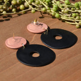Dusty Rose and Black Polymer Clay Statement Earrings by JAX Atelier