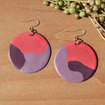 Pink and Purple Polymer Clay Statement Earrings by JAX Atelier