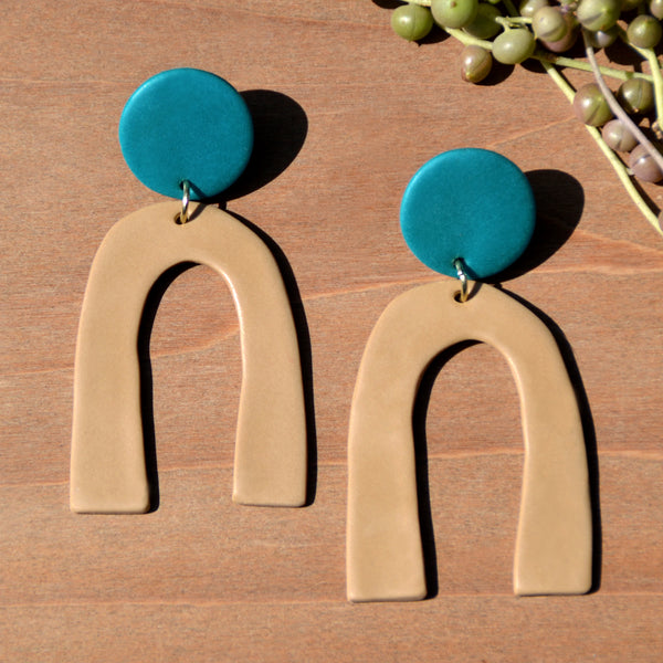 Teal Blue and Tan Arch Polymer Clay Statement Earrings by JAX Atelier