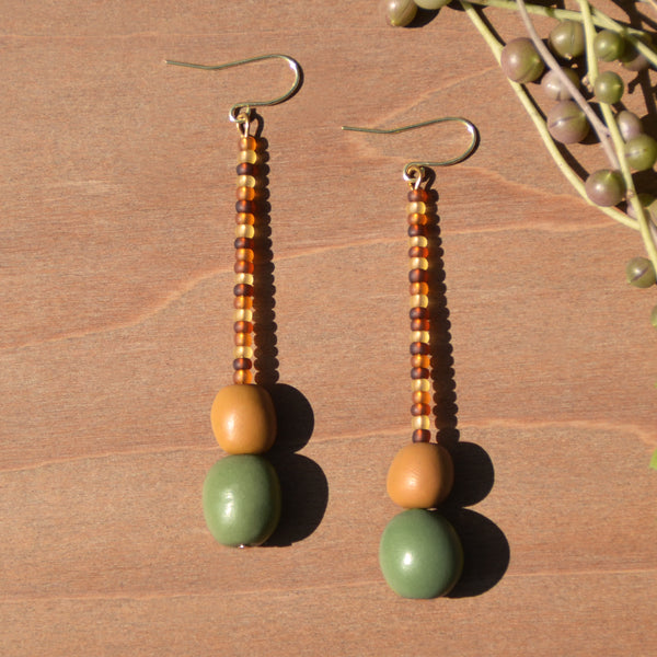 Amber Beads and Polymer Clay Statement Earrings by JAX Atelier