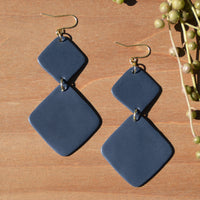 Navy Blue Diamond Polymer Clay Statement Earrings by JAX Atelier