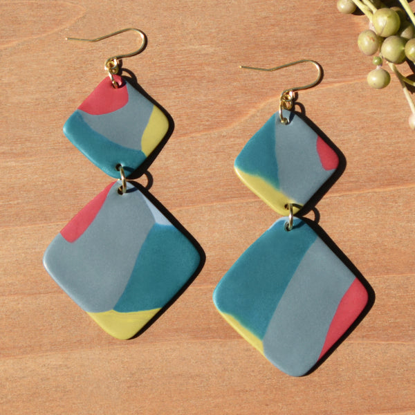 Abstract Diamond Polymer Clay Statement Earrings by JAX Atelier