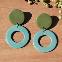 Dark Olive and Aqua Blue Polymer Clay Statement Earrings by JAX Atelier