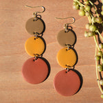 Khaki, Mustard and Burnt Orange Polymer Clay Statement Earrings by JAX Atelier