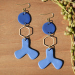 Brass Hexagon and Blue Abstract Polymer Clay Statement Earrings by JAX Atelier