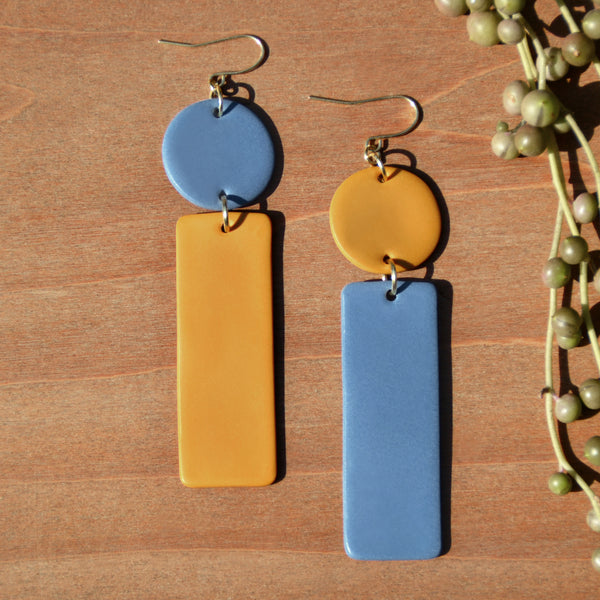 Mustard and Periwinkle Polymer Clay Statement Earrings by JAX Atelier