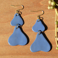 Periwinkle Abstract Polymer Clay Statement Earrings by JAX Atelier