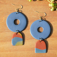 Periwinkle and Drop Swirl Arch Polymer Clay Statement Earrings by JAX Atelier