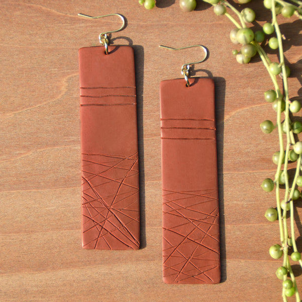Textured Terra Cotta Polymer Clay Statement Earrings by JAX Atelier