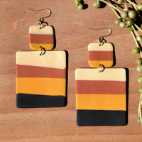 Autumn-Toned Striped Polymer Clay Statement Earrings by JAX Atelier