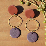 Brass Circle, Terra Cotta and Grape Polymer Clay Earrings