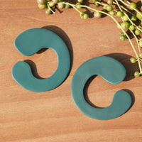 Dark Seafoam Blue Polymer Clay Statement Earrings by JAX Atelier