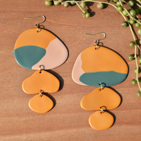 Large Mustard, Teal and Taupe Polymer Clay Statement Earrings by JAX Atelier