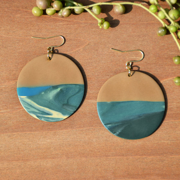 Tan and Teal Swirl Polymer Clay Statement Earrings by JAX Atelier