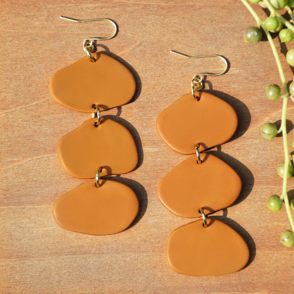 Yellow Ochre Polymer Clay Statement Earrings by Jax Atelier