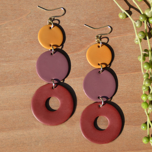 Ochre, Mauve and Cranberry Polymer Clay Statement Earrings by JAX Atelier