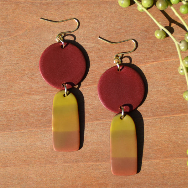 Maroon and Yellow Gradient Drop Polymer Clay Statement Earrings by JAX Atelier