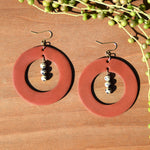 Dalmatian Jasper and Terra Cotta Polymer Clay Statement Earrings by JAX Atelier