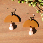 Rose Quartz and Ochre Polymer Clay Statement Earrings by JAX Atelier