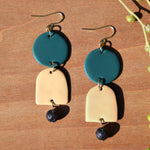 Lava Stone and Teal and Cream Polymer Clay Statement Earrings by JAX Atelier