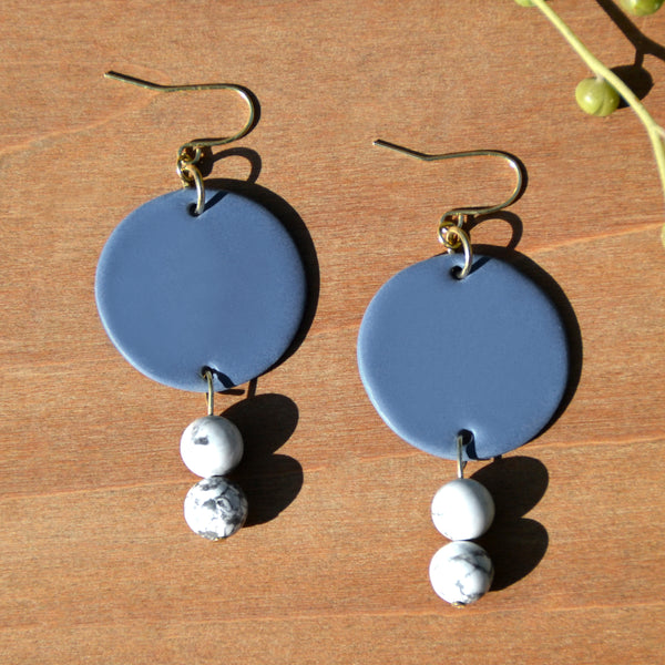 Howlite and Dark Periwinkle Polymer Clay Statement Earrings by JAX Atelier